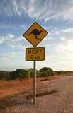 Kangaroo warning sign. Kangaroos next 2 km sign in the Australian outback Royalty Free Stock Photo