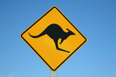 Kangaroo warning sign. A kangaroo warning sign Australia Stock Images