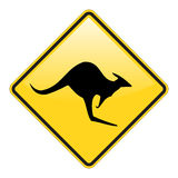 Kangaroo warning sign Stock Photos