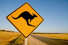 Kangaroo warning sign Australia Stock Images