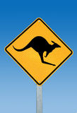 A kangaroo warning sign Australia Royalty Free Stock Photos