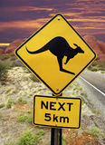 Kangaroo Warning Sign - Australian Outback Stock Image