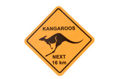 Australia, Australian Kangaroo road warning sign isolated on white background Royalty Free Stock Photo