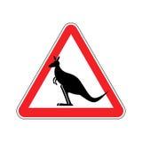 Kangaroo Warning sign. wallaby Hazard attention symbol. Danger r. Oad sign red triangle Australian wild animal Stock Image