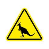 Kangaroo Warning sign. wallaby Hazard attention symbol. Danger r. Oad sign yellow triangle Australian wild animal Stock Photography