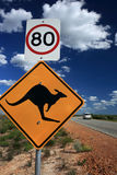 Kangaroo Warning Sign,West Australia. Kangaroo warning sign on a road,West Australia royalty free stock photo