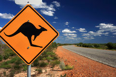 Kangaroo Warning Sign,Western Australia. Kangaroo warning sign on a road in Western Australia royalty free stock photography