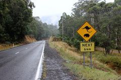 Kangaroo and Wombat Road Sign 1 Stock Photo