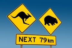 Kangaroo and wombat warning sign Australia. Kangaroo and wombat warning sign with clear blue sky South Australia Royalty Free Stock Images
