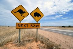 Kangaroo, wombat  warning sign Australia Royalty Free Stock Photography
