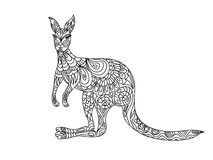 Kangaroo zentangle coloring page Royalty Free Stock Photos