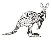 Kangaroo zentangle stylized, vector, illustration, freehand penc Stock Images