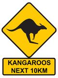 Kangaroos Ahead. Kangaroo road sign, Australian icon