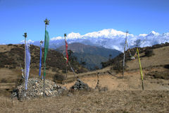 Kangchenjunga and prayer flags northeast India Stock Photography