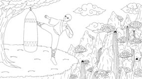 Asian guy practicing kangfu on the mountain top for coloring book page for anti stress. Vector illustration royalty free illustration