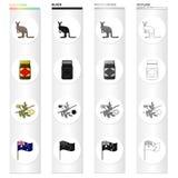 Kangoeroe, appelmoeschutney, Australische acacia, acacia, nationale vlag Vastgestelde de inzamelingspictogrammen van Australië in Royalty-vrije Stock Foto's