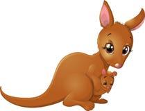 Kangoeroe met baby stock illustratie
