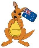 Kangoeroe met nationaal voorwerp Royalty-vrije Stock Foto
