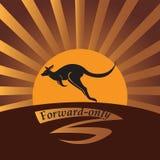 Kangoeroe op een achtergrond een zon Stock Afbeelding