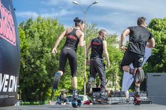 Kangoo fitness instructors exercise outdoor Stock Photo