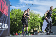 Kangoo instructors jumping on scene. Kangoo fitness instructors jumping and exercising on scene outdoor on May 18, 2014 in Bucharest Royalty Free Stock Photography