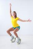 Kangoo jumps athlete Stock Photography