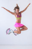 Kangoo salta l'atleta Fotografia Stock