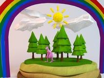 kangourou 3d à l'intérieur d'une bas-poly scène verte Images stock