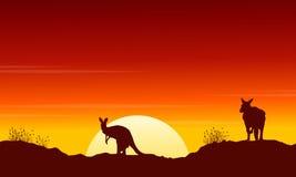 Kangourou de collection au paysage de silhouette de coucher du soleil illustration de vecteur