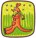 Kangourou et papillons Photos libres de droits
