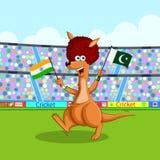 Kangourou jouant le cricket Image libre de droits