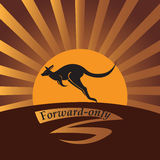 Kangourou sur un fond un soleil Image stock