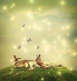 Kangourous dans un paysage d'imagination Image stock