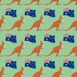 Kangourous et modèle sans couture de drapeau australien Fond pour f illustration de vecteur