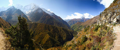Kangtega and Kongde mountains ridges snow peaks panorama view, N Royalty Free Stock Photo