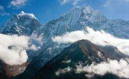Kangtega and Thamserku - beautiful mounts above the Namche Bazar Stock Photos