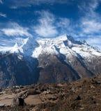 Kangtega and Thamserku mountains in Sagarmatha, Nepal. Panoramic view of Kangtega and Thamserku mountains in Sagarmatha National Park, Nepal Himalaya Royalty Free Stock Images