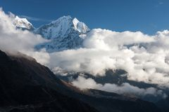 Kangtega and Thamserku from route to Gokyo Royalty Free Stock Photo