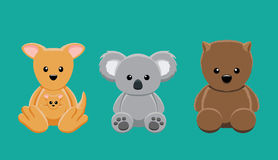 Kangur koali Wombat lali kreskówki wektoru Ustalona ilustracja royalty ilustracja