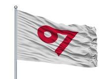 Kani City Flag On Flagpole, νομαρχιακό διαμέρισμα της Ιαπωνίας, Γκιφού, που απομονώνεται στο άσπρο υπόβαθρο Ελεύθερη απεικόνιση δικαιώματος