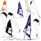 Kani i wiatru surfingowowie Obraz Stock