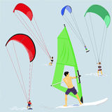 Kani i wiatru surfingowowie Zdjęcia Stock