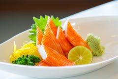 Kani Sashimi Kani Sashimi.,Imitation crabmeat. Royalty Free Stock Photo
