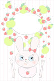 Kanin behandla som ett barn menyn för ungar för flickajordgubbeäpplet vektor illustrationer
