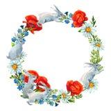 Kanin bland blommor Vattenfärgkort vektor illustrationer