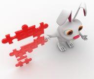 kanin 3d med frågefläcken av pusselbegreppet Royaltyfri Bild