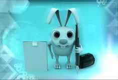 kanin 3d med notepad- och pennillustrationen Royaltyfria Bilder