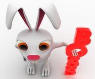 kanin 3d med rött vertikalt framstickandetextbegrepp Royaltyfri Fotografi