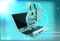 kanin 3d på bärbar datorillustration Royaltyfria Foton