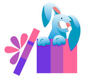Kanin i en festlig ask Överraskning på ferie Arkivfoto